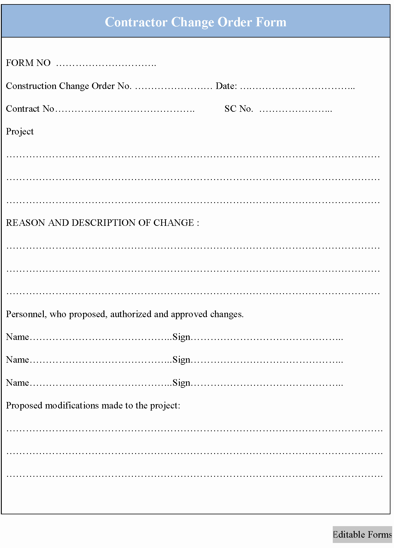 Construction Change order form Template