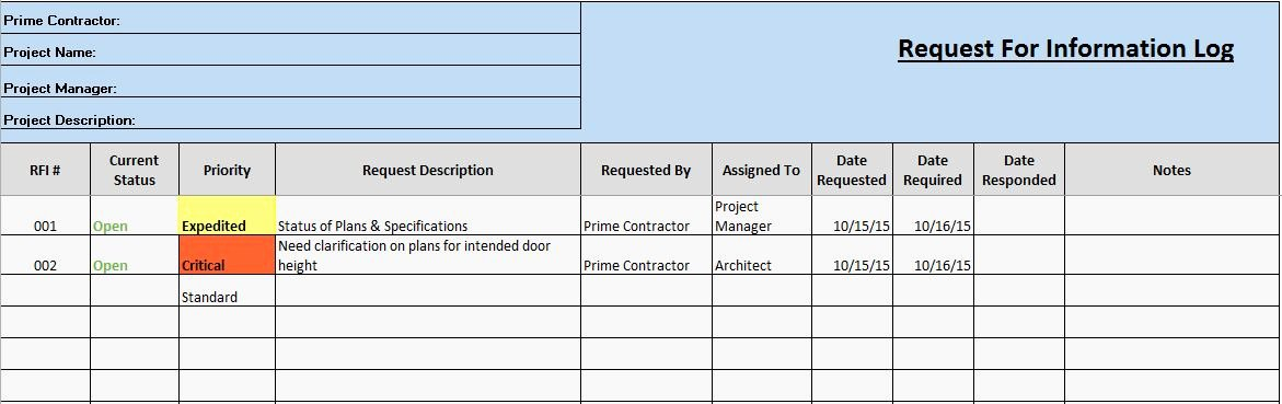 Contractor Change order Templates Excel