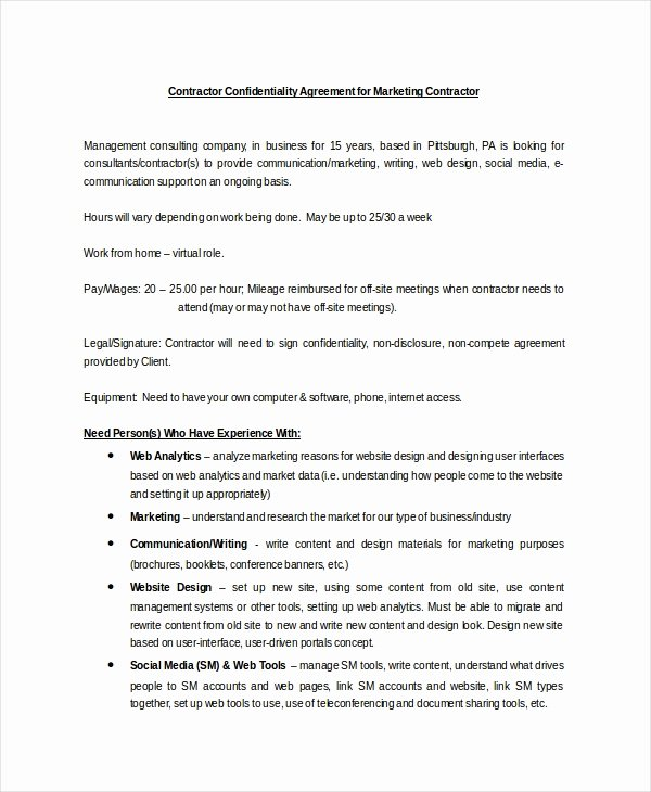 Contractor Confidentiality Agreement – 10 Free Word Pdf