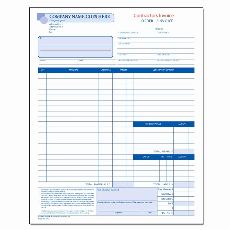 Contractor Invoice form Carbonless Printing