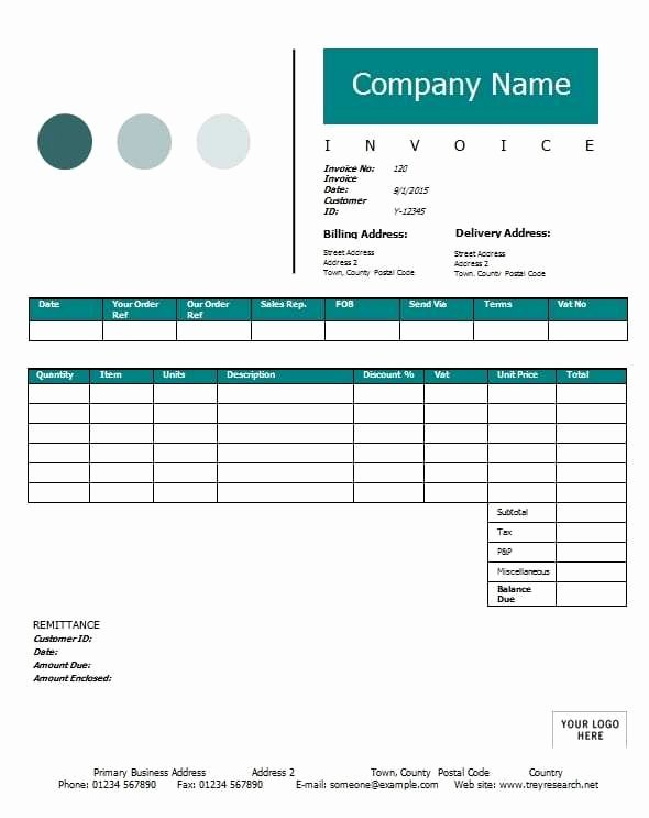 Contractor Invoice Template Printable Word Excel