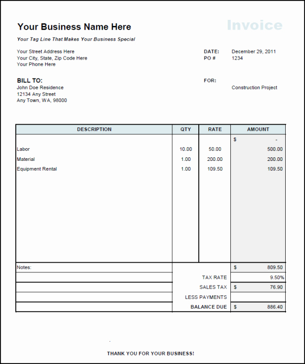 Contractor Invoice Template