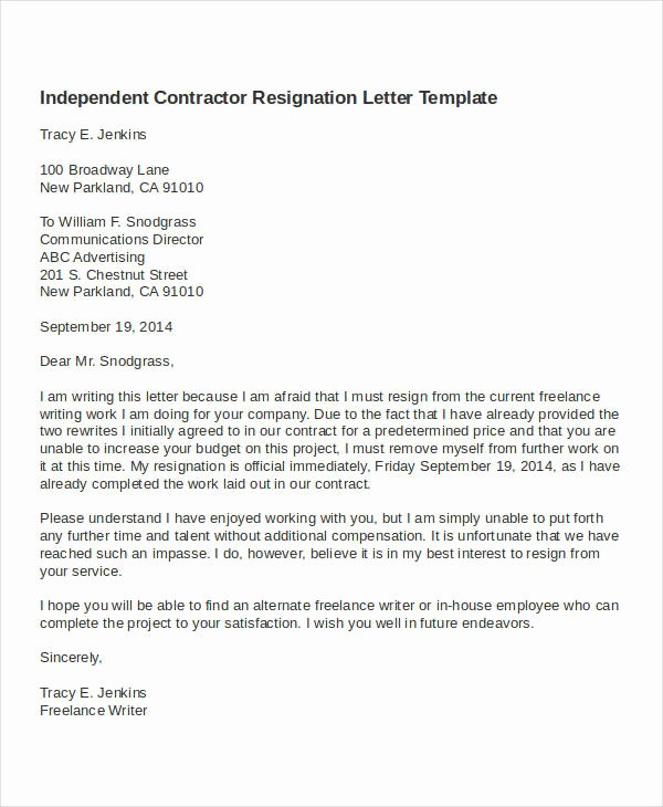 Contractor Resignation Letter Template 4 Free Word Pdf