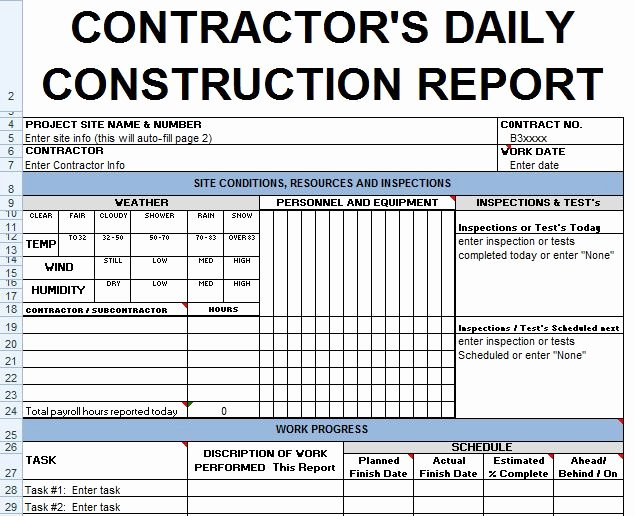 Contractors Daily Report Template Excel Civil