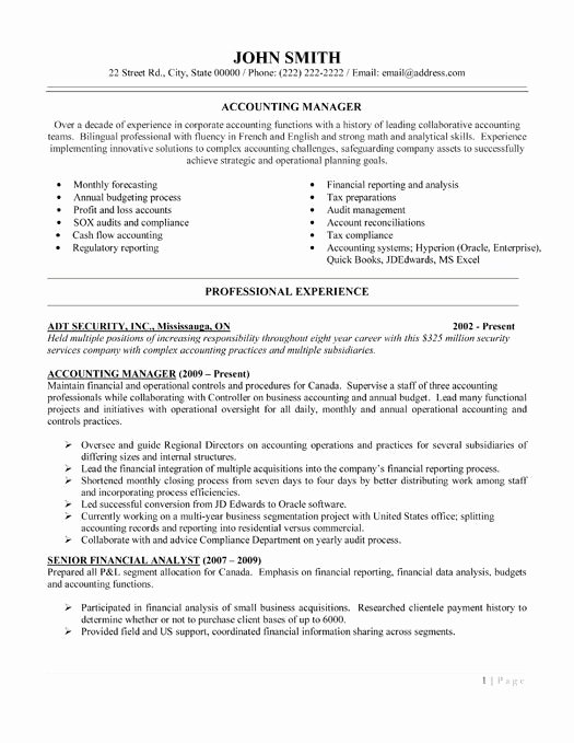 Controller Accounting Resume Sample