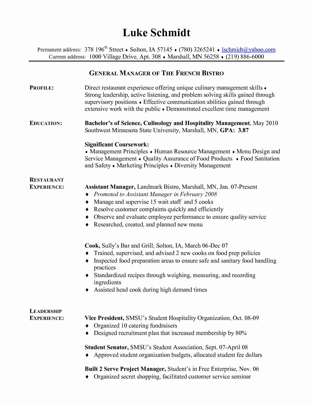Cook Duties Resume Resume Ideas
