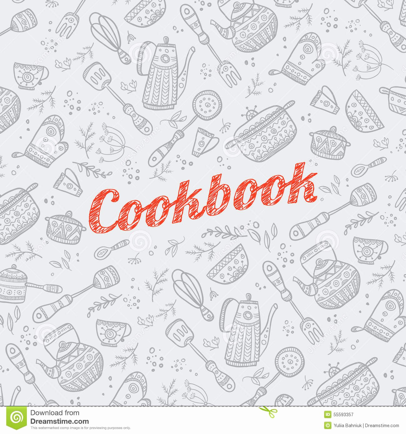 Cookbook Cover with Kitchen Items Stock Vector