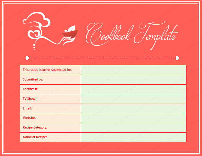 Cookbook Word Template Dotxes