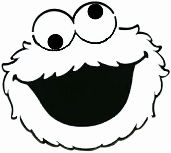Cookie Monster Black White Face