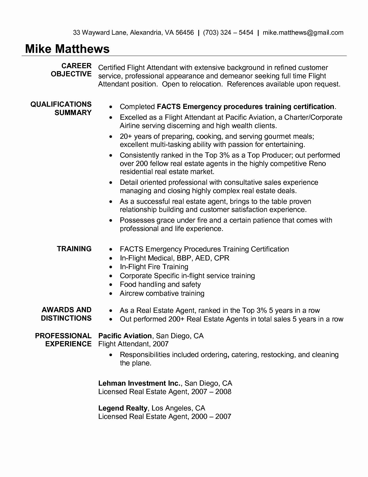 Cool Corporate Flight attendant Resume Best Template
