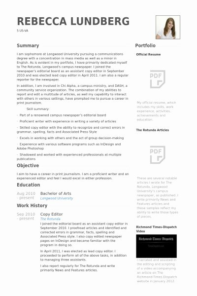 Copy Editor Resume Best Resume Gallery