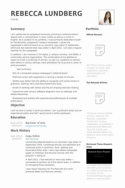 Copy Editor Resume Best Resume Gallery