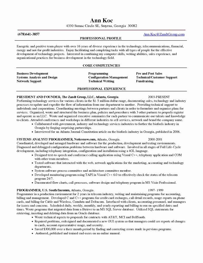 Core Petencies Resume