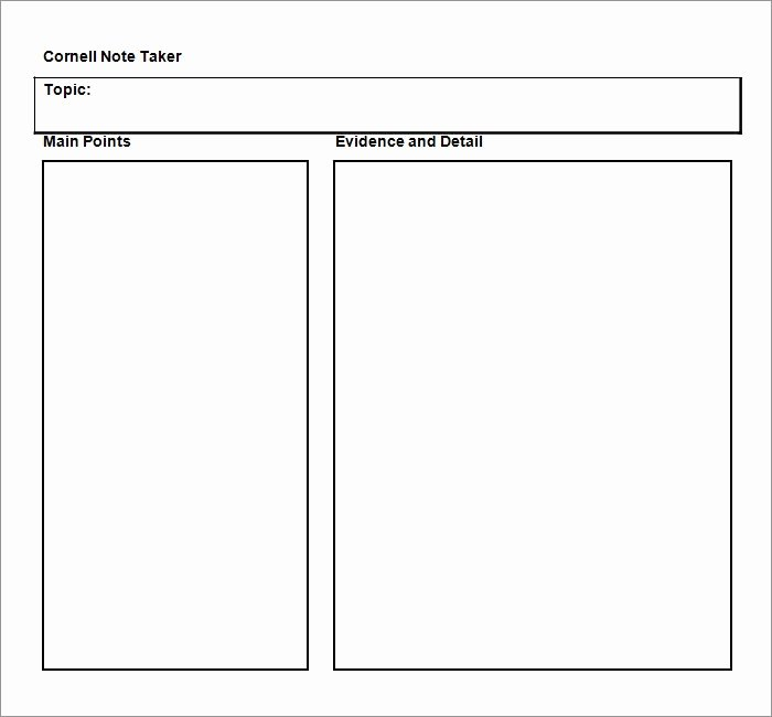 Cornell Notes Word Template