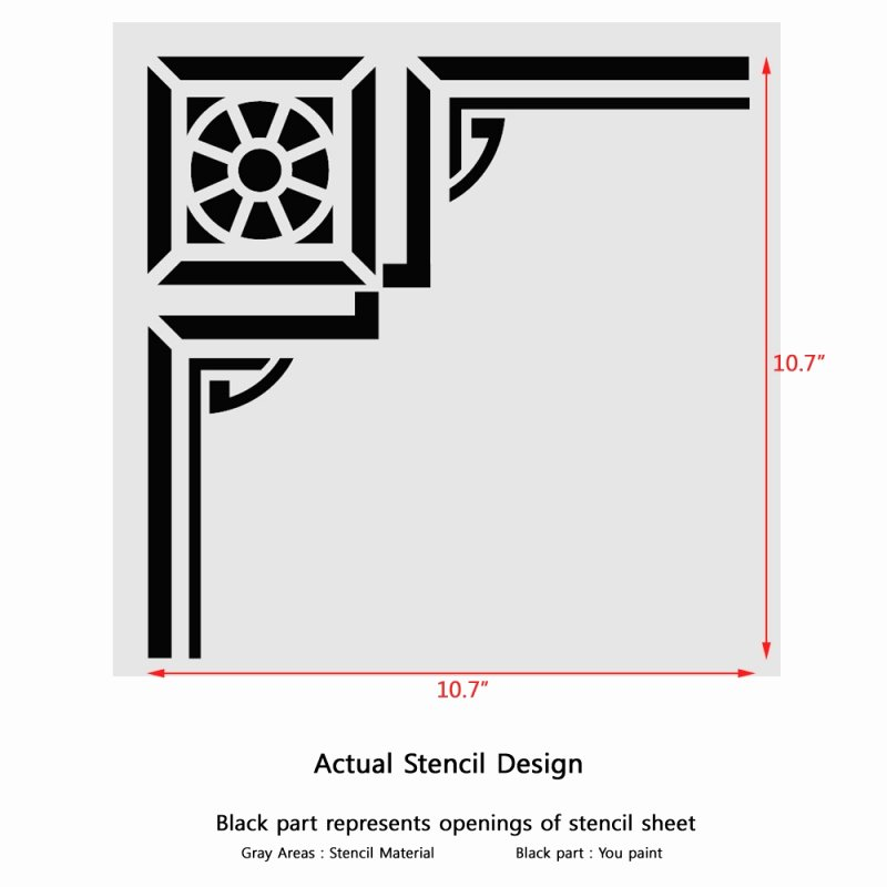 Corner Stencil Reusable Template 022 for Wall Diy Decor