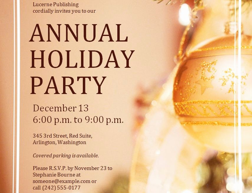 Corporate Holiday Party Invitations Template