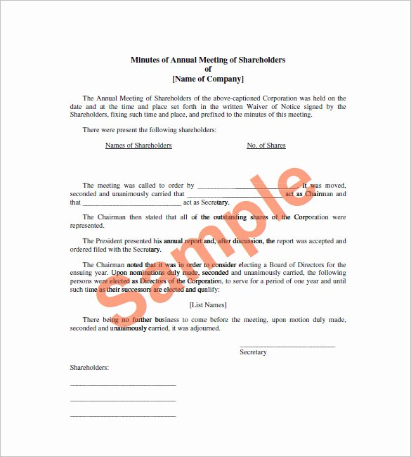Corporate Meeting Minutes Templates – 12 Free Sample