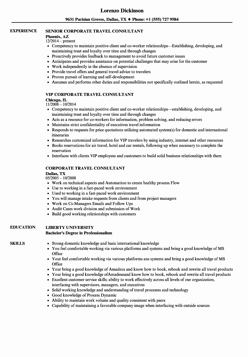 Corporate Travel Consultant Resume Samples