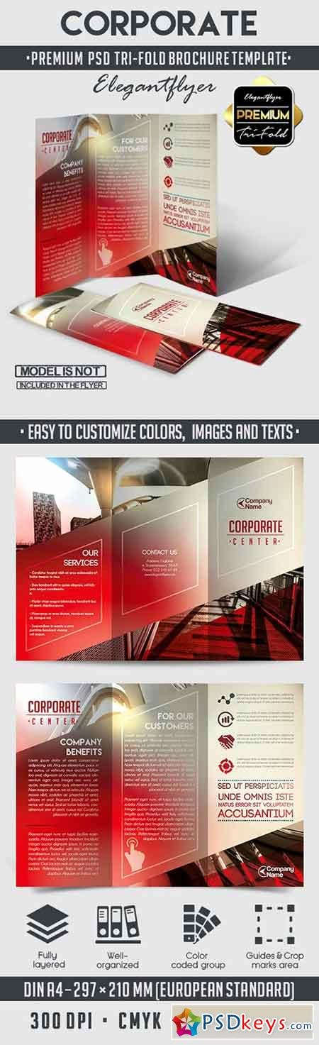 corporate tri fold psd brochure template