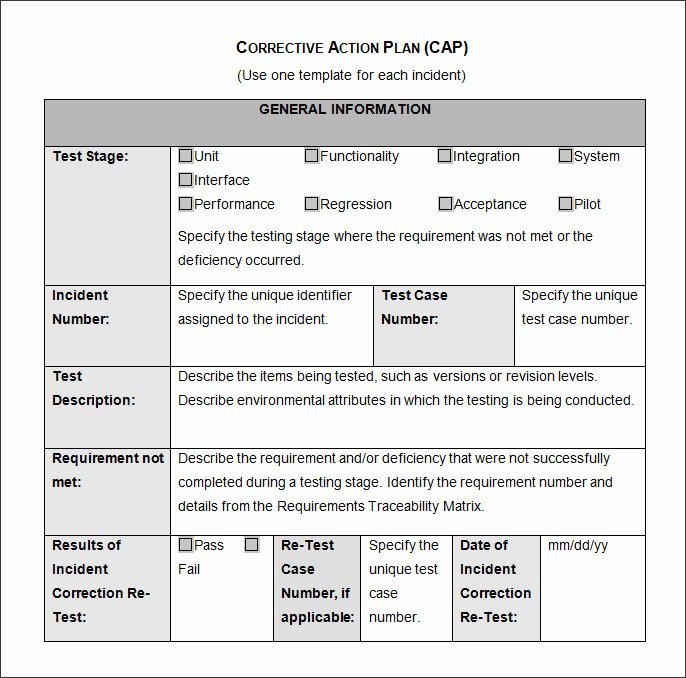 corrective action form template manufacturing
