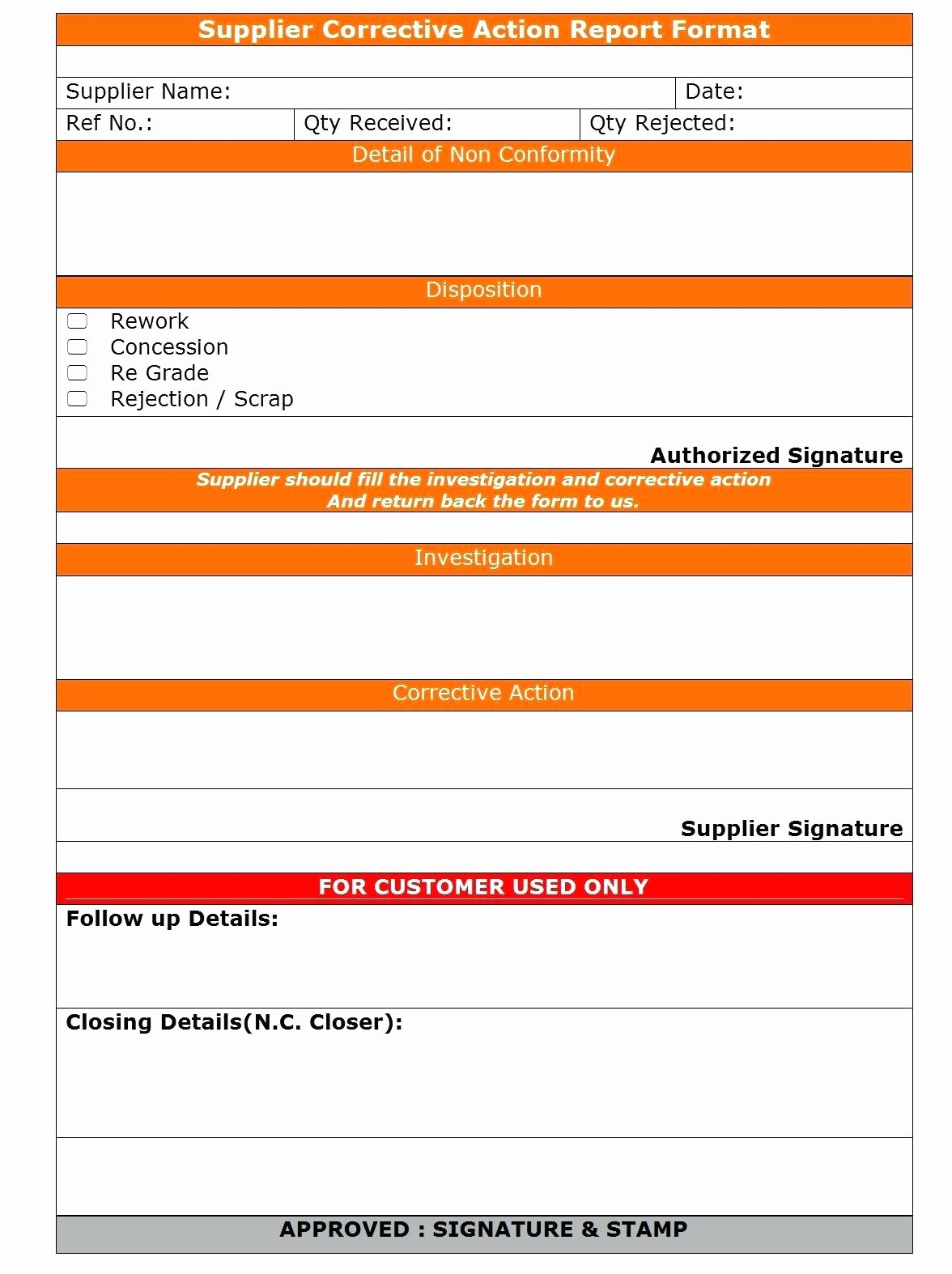 Corrective Action Report Template form
