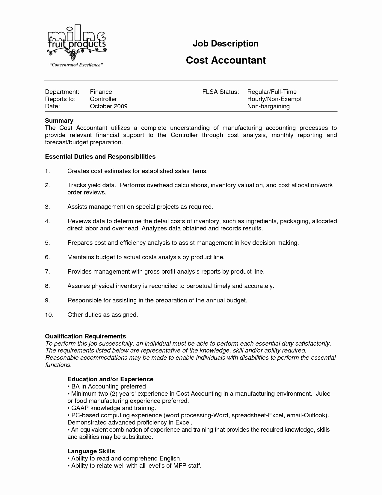 Cost Accountant Job Description Template Templates Data