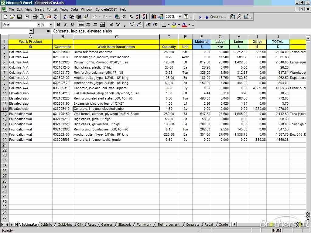 Cost Estimate Spreadsheet Excel Cost Estimate Spreadsheet