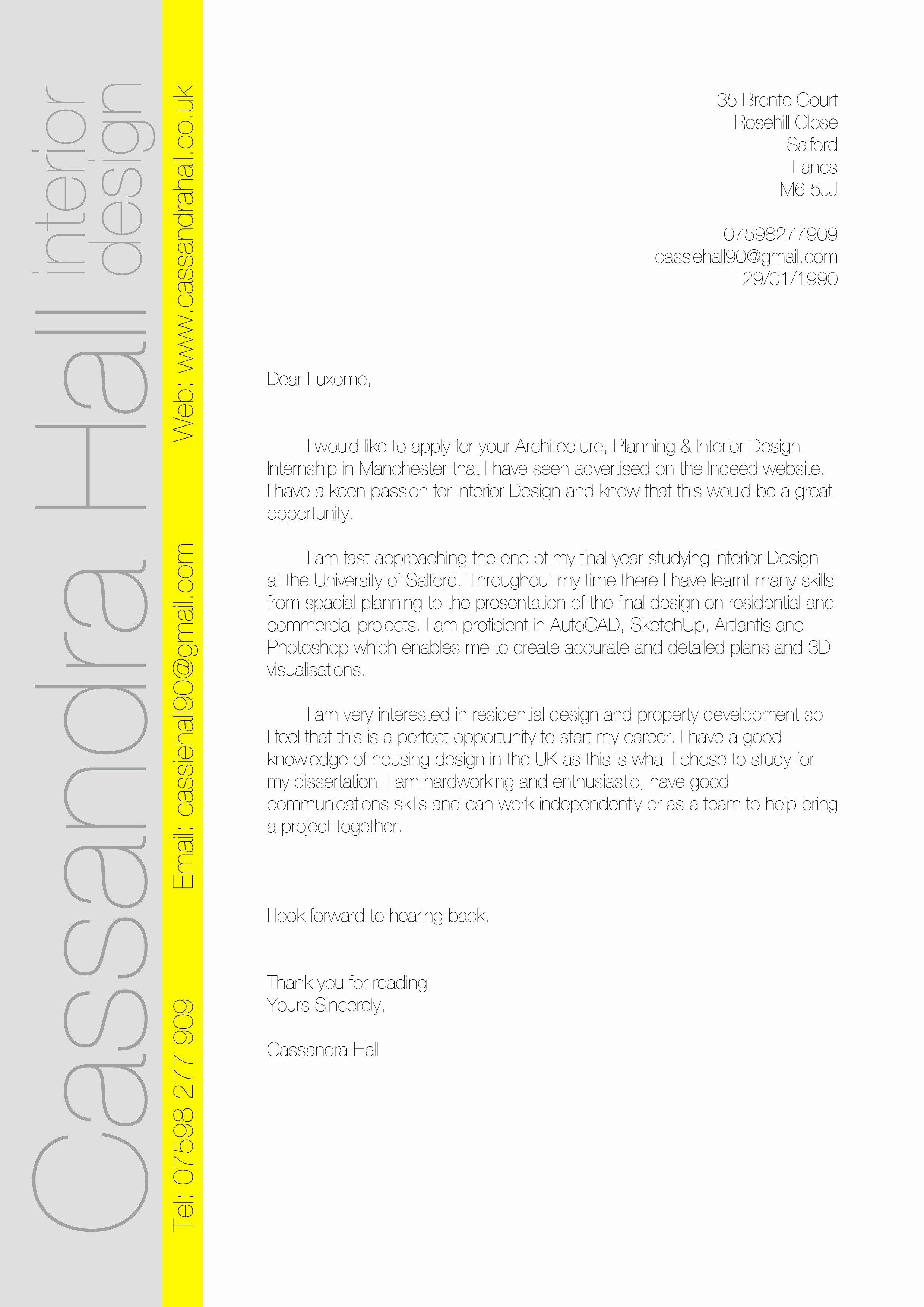costume designer cover letter