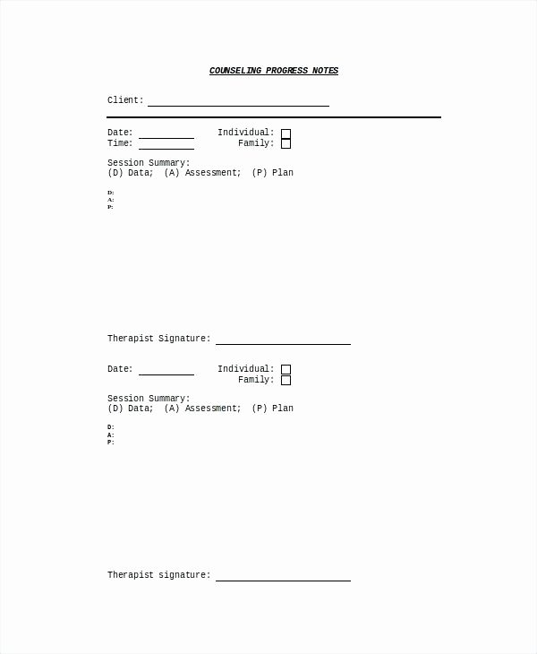 Counseling Progress Note Template – Azserverfo