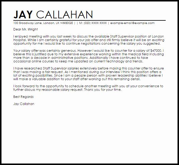 Counter Fer Job Letter Example