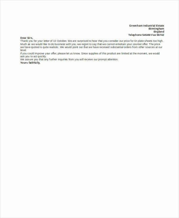 Counter Fer Letter Template 9 Free Word Pdf format