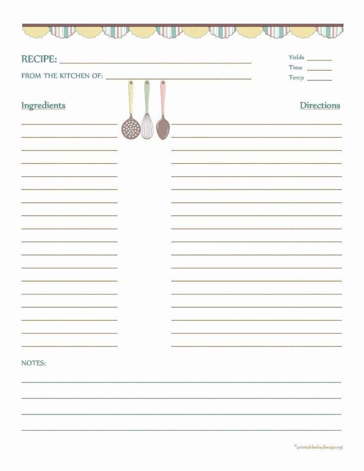 Country Banner Recipe Card 8 1 2 X11