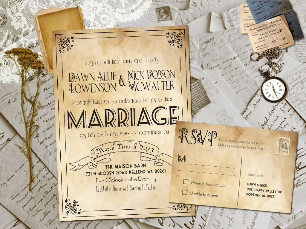 Country Rustic Wedding Invitations Template