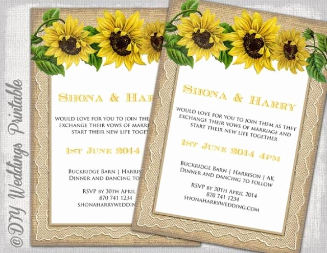 """Country Wedding Invitation Template """"rustic Sunflower"""