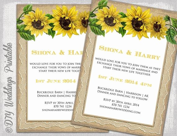 "Country Wedding Invitation Template ""rustic Sunflower"