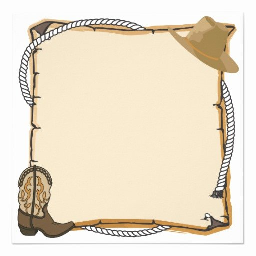 "Country Western Party Invite Blank 5 25"" Square"