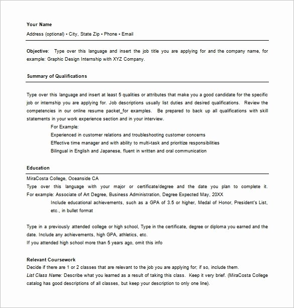 Coursework Resume Template