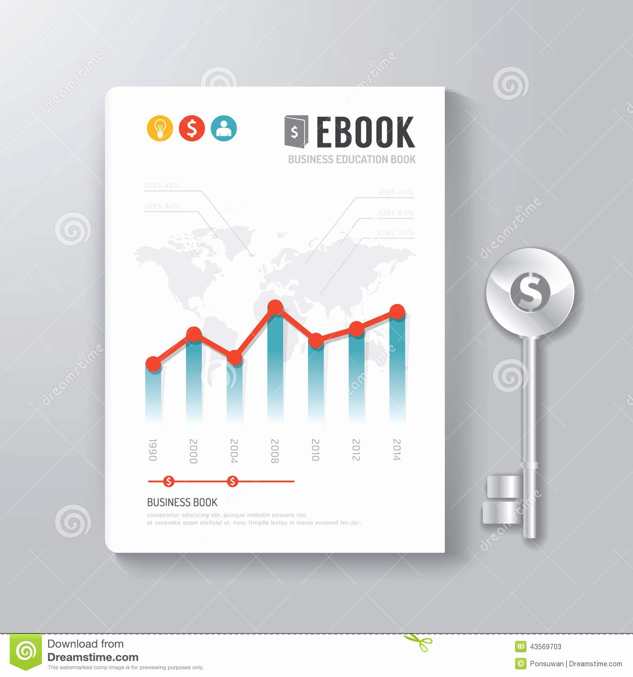 Cover Book Digital Design Template Key Business Concept