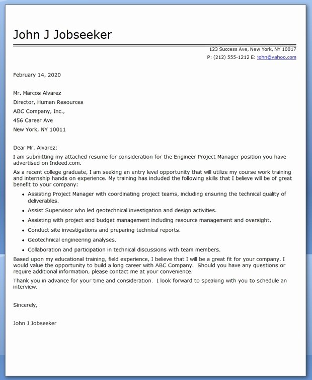 Cover Letter Engineer Project Manager