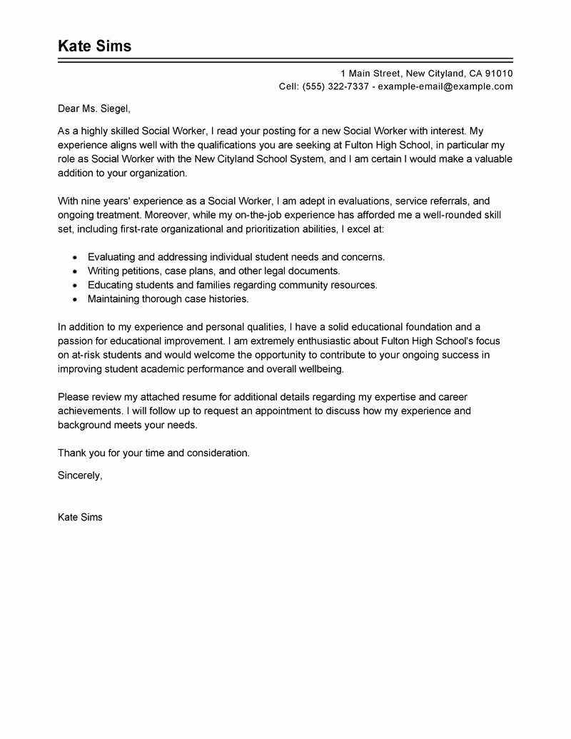 Cover Letter Example Cover Letter Example social Services