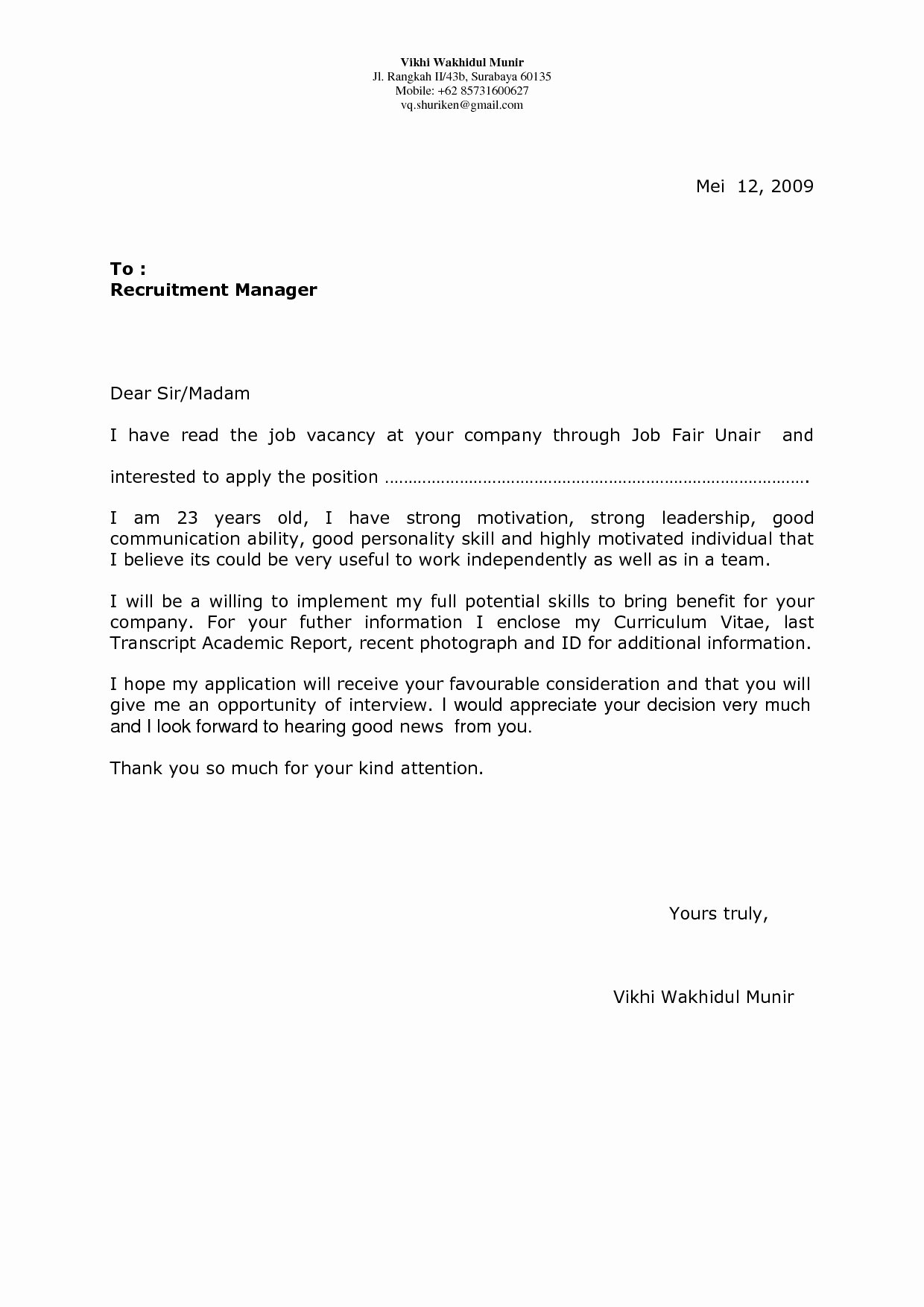 Cover Letter Example for Job Fair Valid Cover Letter for