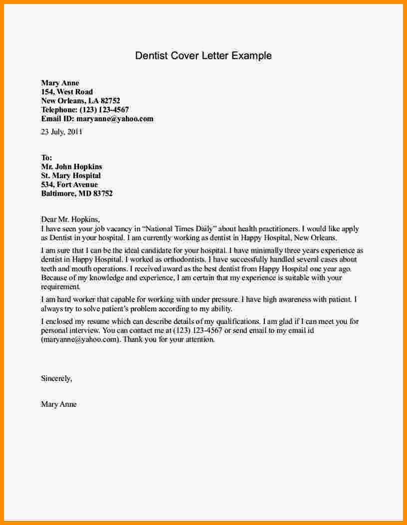 Cover Letter Examples for Dental Receptionists