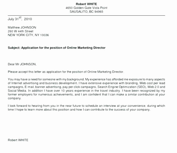 Cover Letter Examples for Job Application Cover Letter