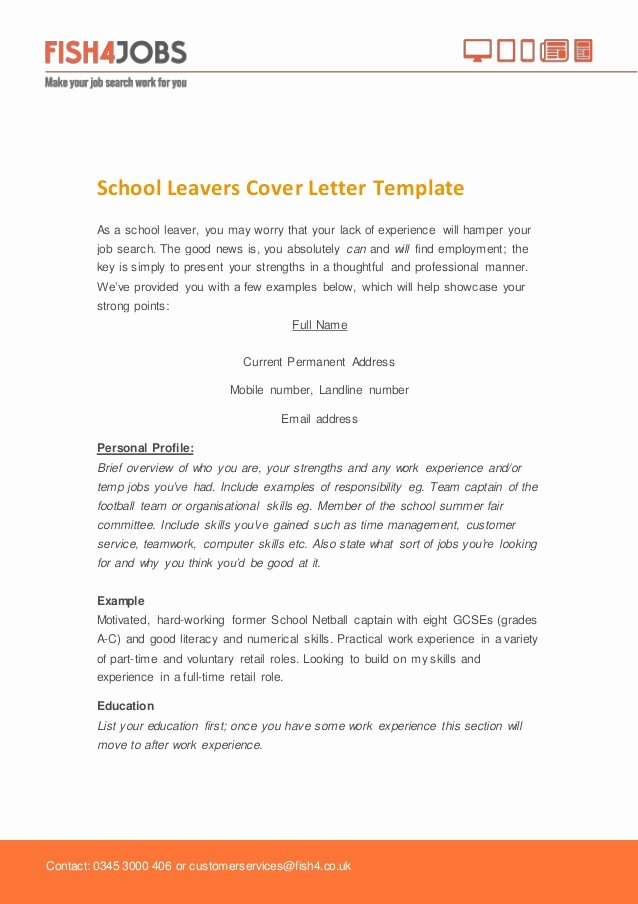 Cover Letter Examples School Leaver