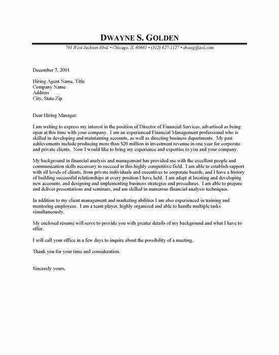 Cover Letter Finance