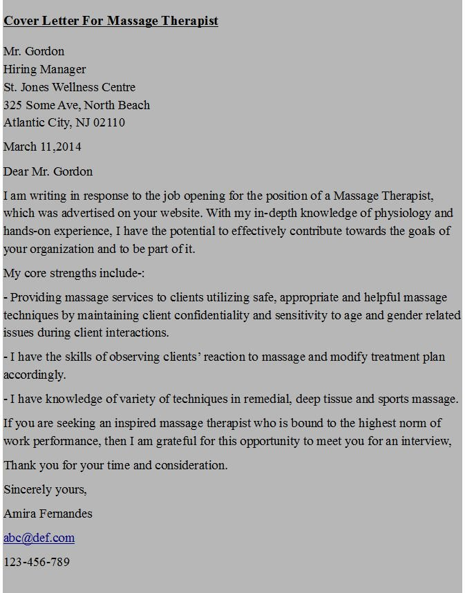 Cover Letter for A Massage therapist Buy Paper Online
