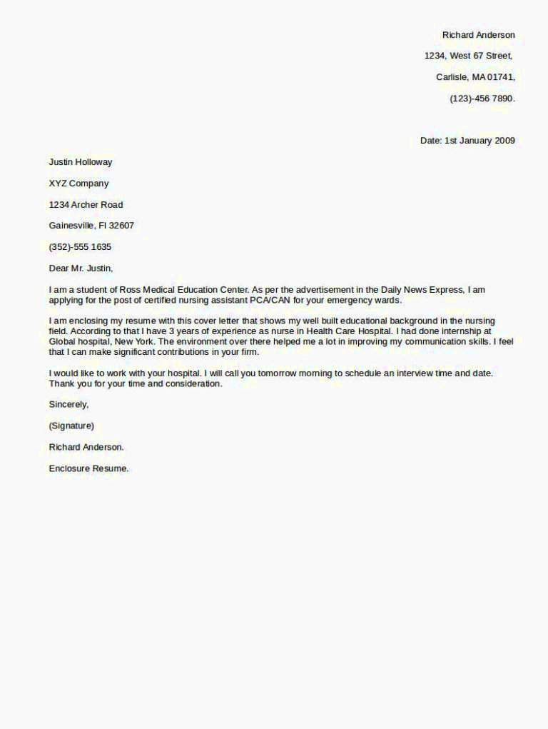 Cover Letter for Any Job Resume Template