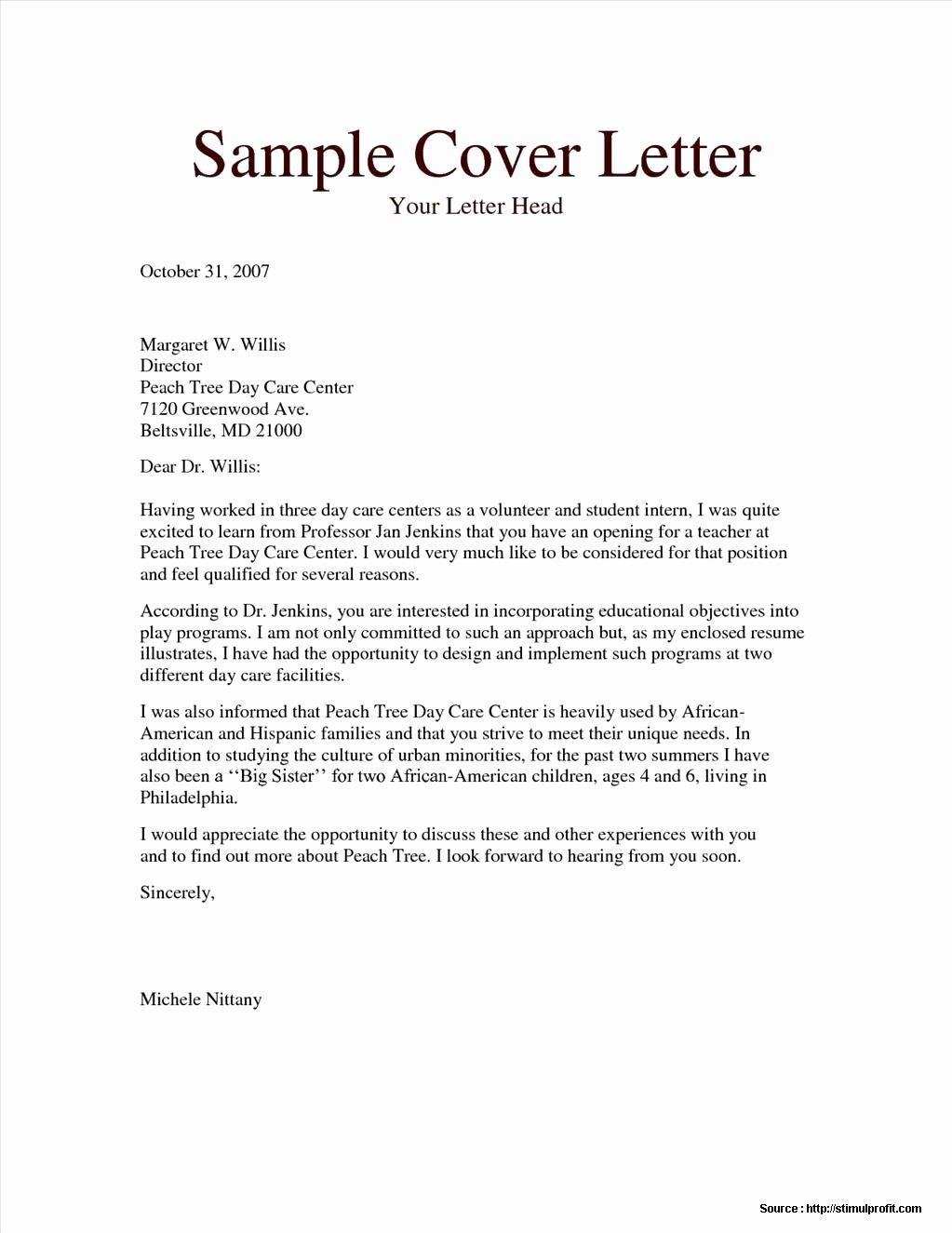 Cover Letter for Child Caregiver Cover Letter Resume