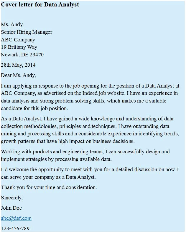 Cover Letter for Data Analyst