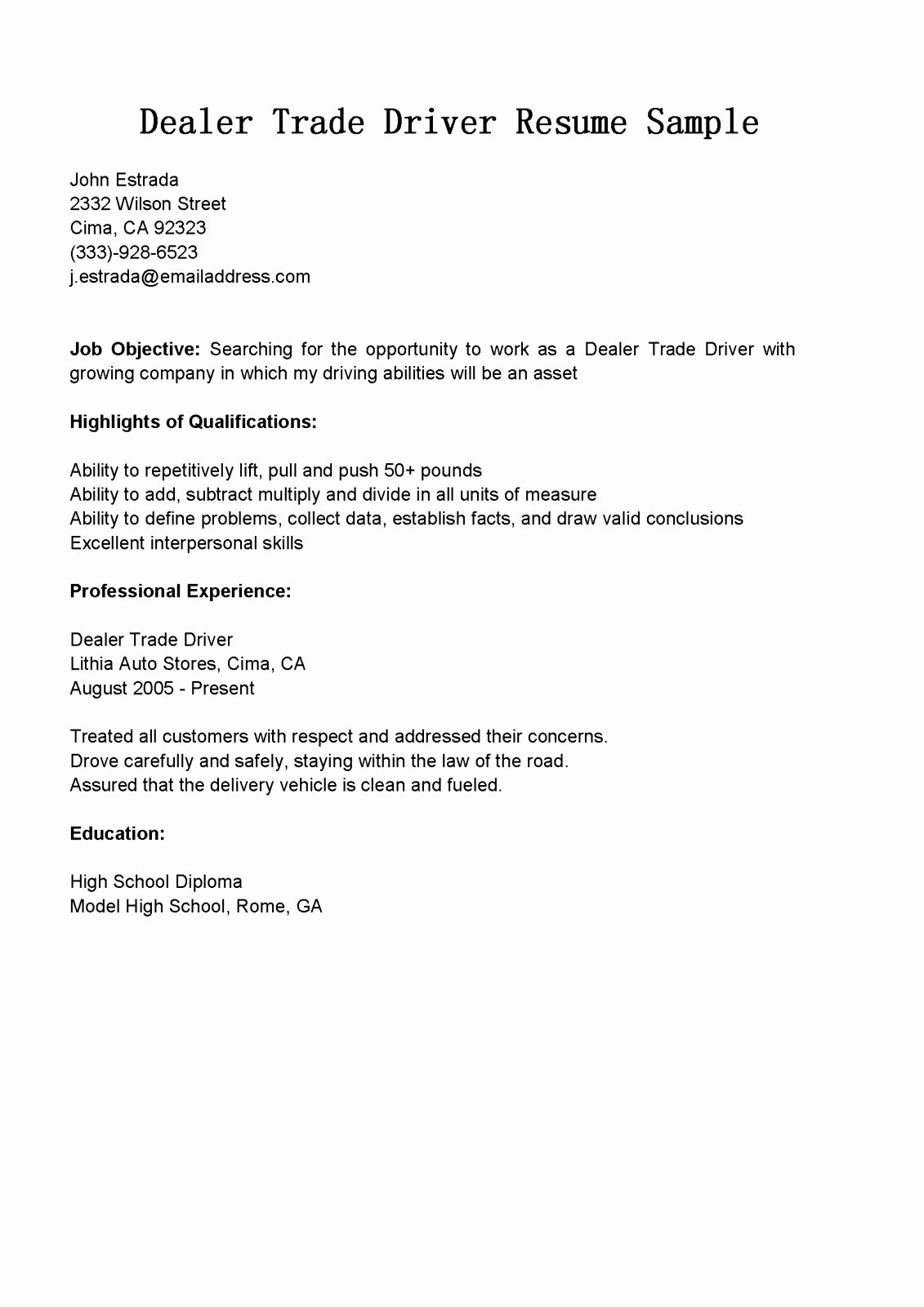Cover Letter for Delivery Driver No Experience